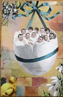 Multiple Baby 1913 Postcard: Babies in Easter Egg - French Fantasy