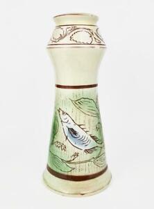 Antique ARTS & CRAFTS MOVEMENT Pottery AQUATIC CANDLESTICK c1890