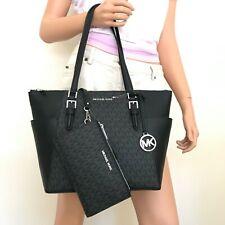Michael Kors Charlotte Black Signature Leather Large Top Zip Tote Handbag Bag