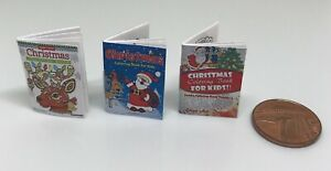 Dolls House Miniature 3 Christmas Colouring Books (DD284)Additional ItemsP&PFREE