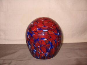 """Glass Pendant Light Globe Red, White & Cobalt Blue 5 1/2"""" Height VGC"""