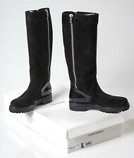 COSTUME NATIONAL WOMEN BLACK BOOTS SUEDE & PATENT SIZE US 7 NEW WITH BOX