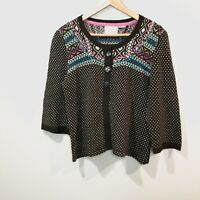 Anthropologie Guinevere Cardigan Sweater Fair Isle Dotted Button Womens Large