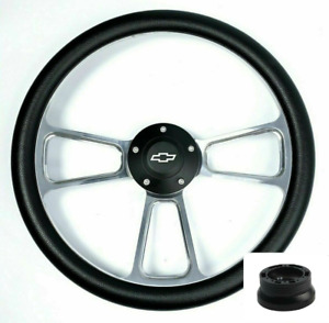 """14"""" Polished Steering Wheel Black Bowtie Horn For 1974-1994 Chevy Pickup Truck"""