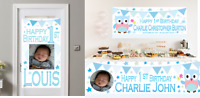 Large Personalised 1st Birthday Banner Poster Photo First Party Decorations Boys