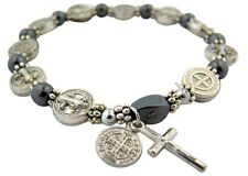 Silver Tone Saint Benedict Medal Hematite Bead Rosary Bracelet 7 1/2 Inch