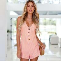 Fashion Women Stripe Sleeveless V-Neck Beach Shorts Dress Casual Jumpsuit Romper