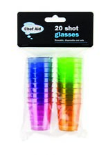 Chef Aid 20 Coloured Plastic Disposable Party Jelly Chaser Shot Cups Glasses