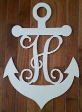 20 inch tall Monogram Anchor Vine Letter Unfinished wood wall decor 1/2 wood