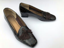 70s Brown patent Leather Alligator tassel low heel pumps 7N Chic!