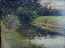 Ludwig Benno Fay (1859-1906) antiguo óleo: Bach con peces en el borde aldea