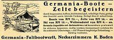 Germania-Faltbootwerft Neckartzimmern BOOTE & ZELTE Historische Reklame von 1938