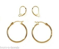 "Gold Tone 1 1/4"" Hoops and INTERCHANGEABLE Lever Back Earrings SET"