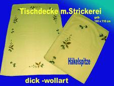 Tischdecke Handarbeit  Unikat aus Omas Zeiten  160 x110 Wollart mit Stickerei