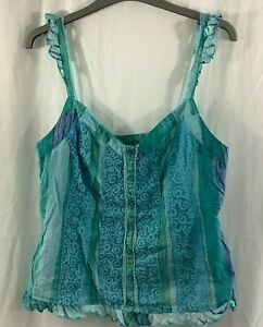 Per Una Sleeveless Top Size 12 Green Mix Striped Button Detail Pullover V Neck