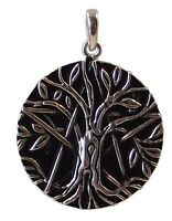 TREE OF LIFE and PENTAGRAM PENDANT 925 Sterling SILVER 22mm Diameter : Celtic