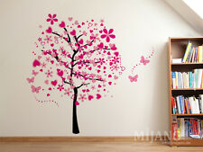 2-tlg. Wandtattoo Wandsticker Pink Baum Blumen Schmetterlinge Blüte Herzen Deko