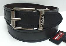 LEVI'S Men's Belt *Black/Brown Reverse Grey Buckle *Casual/Work *New