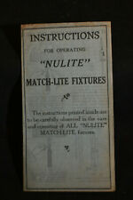 Ca 1900 INstructions for Operating 'NULIGHT' Match-Lite Fixtures -