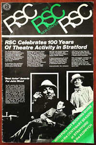 RSC Newspaper No.2 Centenary Season 100 Years of Theatre In Stratford 1975 + Ins