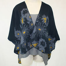 NEW NWT Parsley & Sage Plus Size Zinia Blue Floral French Cape Swing Wrap O/S