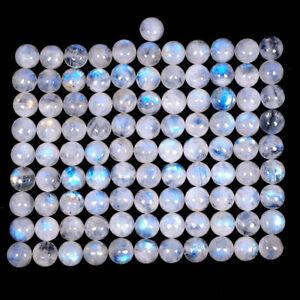 100 Pcs Natural Moonstone Blue Shines 9mm Round Cabochon Gemstones Wholesale Lot
