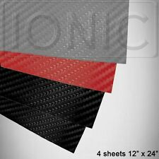 "3D Carbon Fiber Vinyl Wrap Bubble Free Air Release 12""x24"" Black Red Silver 4PK"