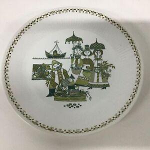 Vintage Turi Design Market White & Green Dinner Plate: Made in Norway #460