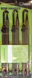 HME Products 20-Inch Strong Folding Bow Hanger w/Accessory Hooks 3/Pack FBH-3