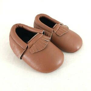 Baby Girls Moccasin Shoes Faux Leather Soft Sole Brown Fringe Size 2 6-12 Months