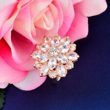 Luxury Big Cubic Zirconia Flower Rings For Women Engagement Wedding Jewelry