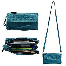 Leather Wristlet Wallet Clutch Card holder Shoulder Strap Cellphone Ocean blue