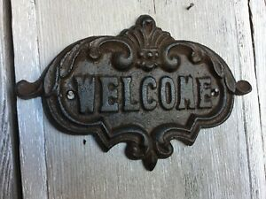 Cast Iron Wall Mounted Welcome Sign