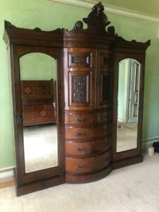 Large Antique Pollard Oak English Armoire
