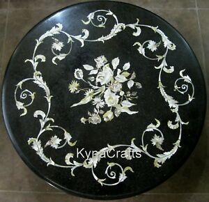 24 Inches Marble Side Table Top with Inlay Work Coffee Table with Royal Look