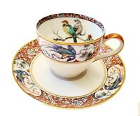 ANTIQUE LIMOGES FRANCE THEODORE HAVILAND BIRD OF PARIDISE DEMITASS CUP & SAUCER