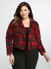 TORRID PLUS SIZE 3 3X 22 24 PLAID CROP JACKET COAT PEACOAT BLAZER WINTER FALL