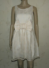 Amazing Cream/Pink Guipure Lace RIVER ISLAND Cocktail Party Sleeve Dress Sz 14