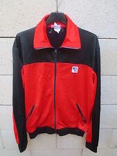 VINTAGE Veste HEURTEFEU noir rouge tracktop jacket 80's 180 L made in France