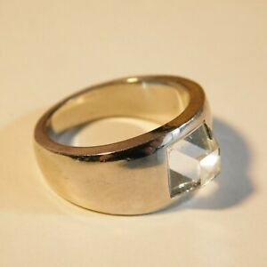 STATEMENT RING chunky silver tone square glass gem  Costume Jewellery size M
