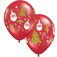 "Santa & Christmas Tree 11"" Qualatex Christmas Balloons x 5"