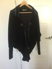 Black Wool tailed hooded Saxony Winter Coat Free size