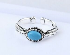 925 Sterling Silver Turquoise Stone Ring, Adjustable Silver Ring, Stacking Rings