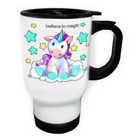 Unicorn Believe In Magic White/Steel Travel 14oz Mug o826t