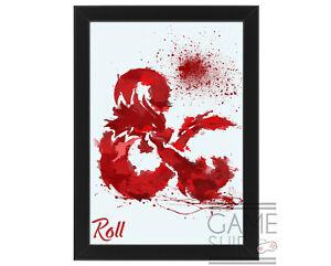Abstract Splatter Dungeons & Dragons Dragon Art Print - Framed/Unframed Poster