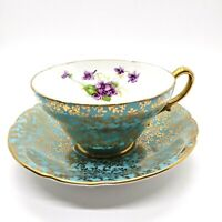 STANLEY England Tea Cup Saucer Fine Bone China Turquoise Violet Flower Gold Trim