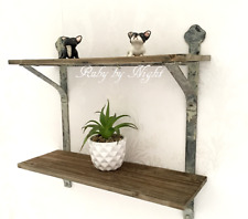 Double Wall Shelf Unit Wood Metal French Vintage Industrial Style Rustic Storage