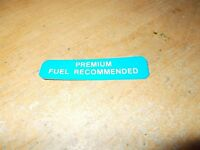 1989 PONTIAC FIREBIRD TRANS-AM TURBO PACE CAR PREMIUM FUEL RECOMMENDED DECAL NEW