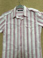 Mens' New Stark Medium Short Sleeve Pink and White Stripe Cotton Shirt