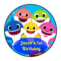 "30 personalized Baby Shark birthday stickers party decorations favors 1.5"" round"
